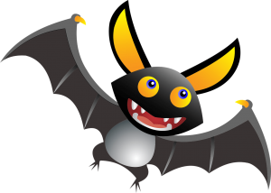 kid friendly illustration of a bat with fangs for Halloween