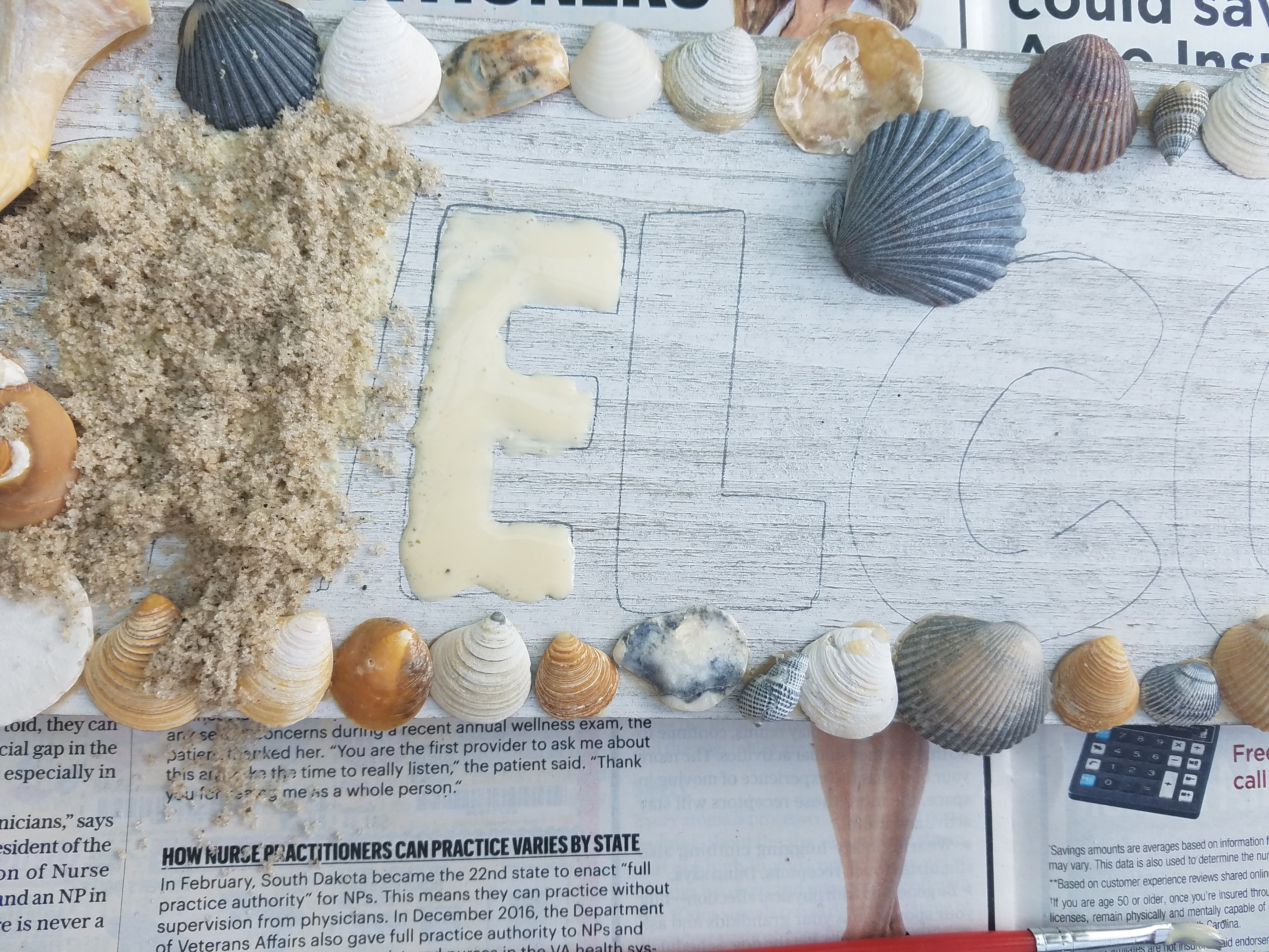DIY Beach Themed Welcome Sign
