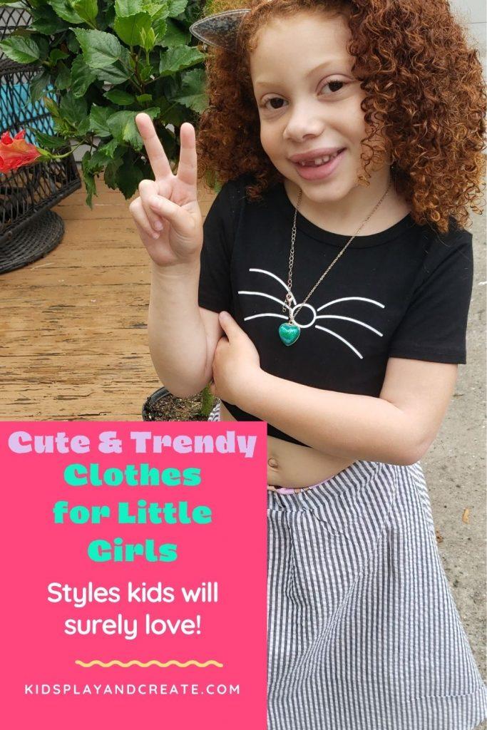 Little girl wearing fashionable clothe
