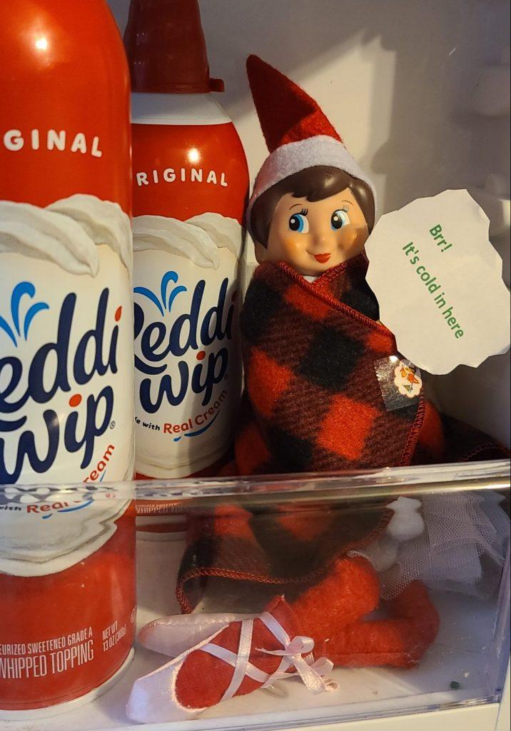 elf on the shelf in the refrigerator