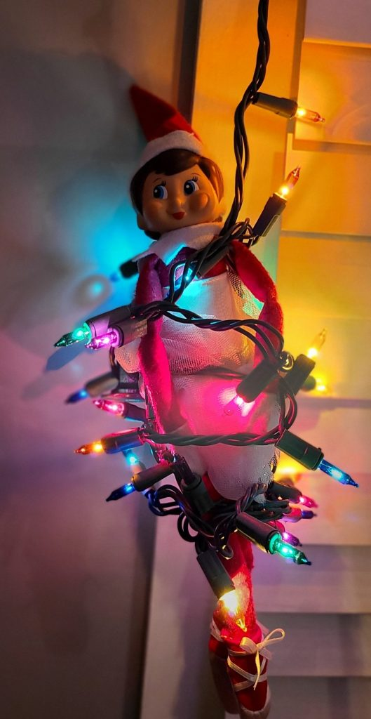 Elf tangled in lights