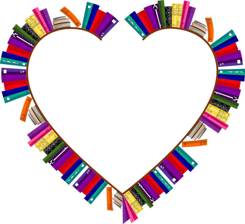 heart shaped bookshelf with books
