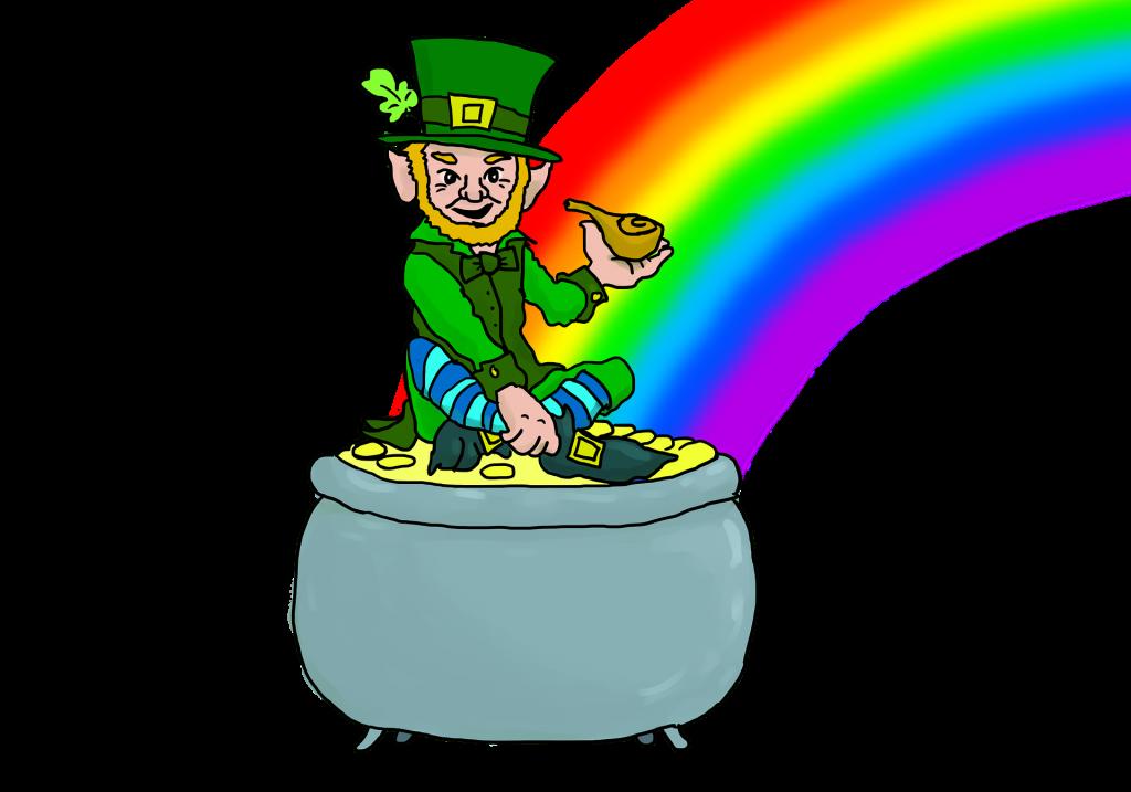 Leprechaun sitting on a pot of gold