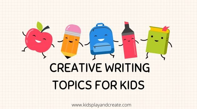 graph paper with crayon, apple, marker and book clip art that says creative writing topics for kids