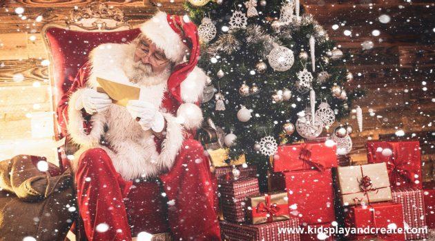 Santa reading Christmas lists under a tree